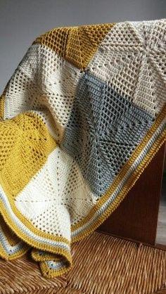 Inspiration only Deken gehaakt met Drops Cotton Merino Crochet Afghans, Crochet Diy, Manta Crochet, Crochet Squares, Crochet Blanket Patterns, Crochet Crafts, Crochet Projects, Crochet Blankets, Patchwork Patterns