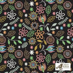 An elegant + dark embroidery pattern by Pattern Camper & Surface Pattern Designer Alison Kolesar.