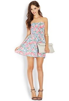 Sweetheart Floral Chambray Dress   FOREVER21 #OOTD #Floral #Chambray