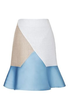 Raffia and Satin Paneled Flare Skirt by Ostwald Helgason
