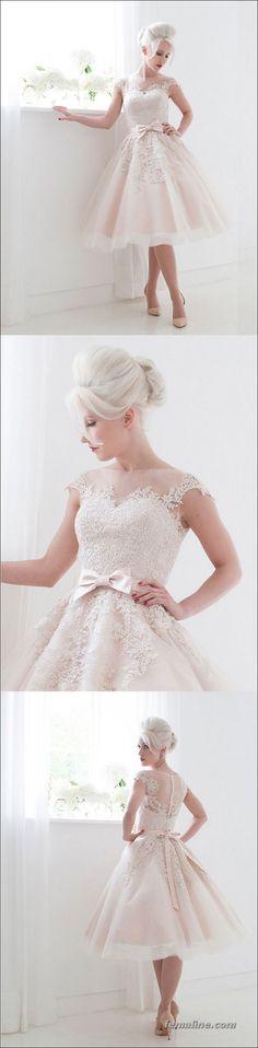 111 elegant tea length wedding dresses vintage (9)