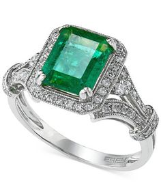 Stunning from every angle. This ring from Brasilica by Effyflaunts emerald-cut emerald (2-1/5 ct. t.w.) in 14k white gold setting emblazoned with round-cut diamonds (1/3 ct. t.w.). | Photo may have be