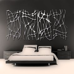 Art Nouveau Web 4 Panel in Brushed Aluminum FREE por ModaIndustria