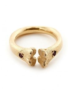 Bone Ring Gold with Rubies | NOT JUST A LABEL