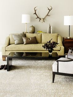Wondering how to style your new room sized rug? Find inspiration in the images of these elegant, room sized Tufenkian rugs. Living Room Decor, Living Spaces, Living Rooms, Noguchi Coffee Table, Room Size Rugs, Above Couch, Black Coffee Tables, Oh Deer, Dream Decor