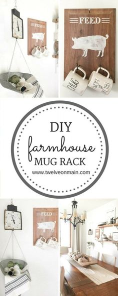 You will not believe how easy this farmhouse mug rack was to make!