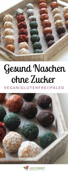 Are you looking for healthy sweets that will fill you up? With these 3 recipes for raw bites you get 9 delicious variants for healthy snacking with no regrets. Raw Bites - 3 recipes for 9 flavors of the healthiest candy in the world - fond of runni Vegan Sweets, Healthy Desserts, Raw Food Recipes, Gourmet Recipes, Keto Recipes, Dessert Recipes, Snack Recipes, Healthy Recipes, Aperitivos Keto