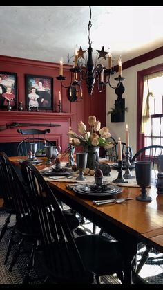 Anderson House Chandelier made by Katie's Handcrafted Lighting Country Living Primitives Primitive Dining Rooms, Country Dining Rooms, Primitive Homes, Primitive Kitchen, Country Living, Primitive Decor, Country Homes, Red Dining Rooms, Primitive Country Decorating