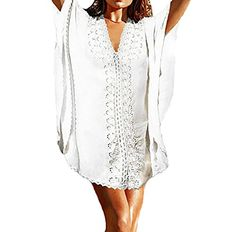 Bestyou Women's Crochet Lace Trim Poncho Cover up Tunic Caftan Beachwear Swimwear (White). Note: Make sure that you order from Bestyou if you truly want to get what you paid! Only Bestyou's cover-up being carefully examined before shipping and well packaged in well-designed bag with logo Bestyou on it!. Material: Rayon. Color: White, Yellow. Size: Free Size Fits US Size XS-L, relaxed fit. This caftan-inspired cover up is a poncho swimwear with wide crochet lace trim that you can wear over…