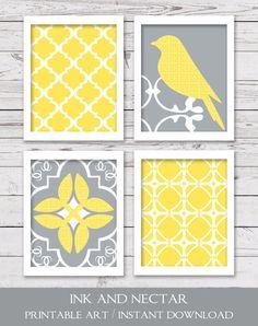 Grey And Yellow Wall Decor printable art, gray and yellow art, instant download, yellow wall