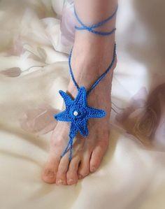 (4) Name: 'Crocheting : Sea Star Barefoot Sandals