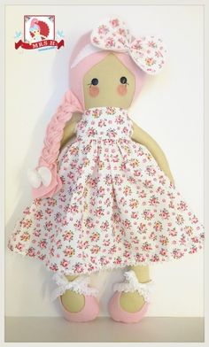 "19"" handmade doll wearing a removable party dress and shoes Suitable from birth Hand wash onlyA Mrs.H original design ©2013"