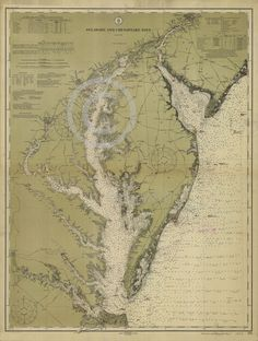 1912 VINTAGE NAUTICAL MAP CHART CHESAPEAKE BAY HISTORICAL