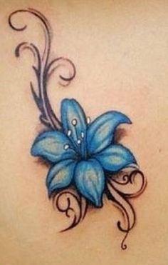 Blue flower tattoo Tattoo | tattoos picture flowers tattoo