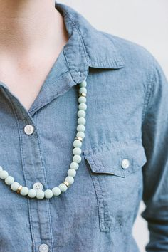 Painted wood beads and hex nut necklace.