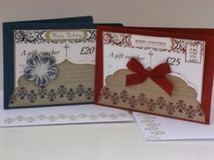 A couple of cute Stampin' Up! gift vouchers I made for my customers recently.