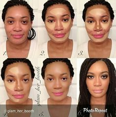 Contour Makeup Before and After african american - Bing images Le Contouring, Contour Makeup, Contouring And Highlighting, Flawless Makeup, Skin Makeup, Contour Kit, Strobing, Girls Makeup, Love Makeup