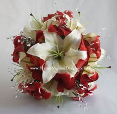 red wedding bouqets   Red, Deep Red and Burgundy, Real Touch Silk, Wedding Flowers