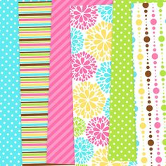 Digital Paper Pack - Candy Bright Digital Papers - Personal and commercial - Buy 2 Get 1 Free. $5.20, via Etsy.