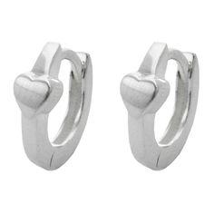 Hinged Hoops Earrings Heart Silver 925