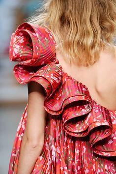 Women's fashion detail . Ruffles . Off shoulder