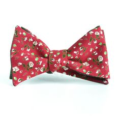 Cotton red bow-tie with print flower. Two different side butterfly - 20$ on lifemaster