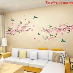 1 pc Sakura Wall Stickers Kids Rooms Bedroom Living Room DIY Art PVC Beautiful Flower Tree Removable Wallpaper home decor New on Aliexpress.com | Alibaba Group