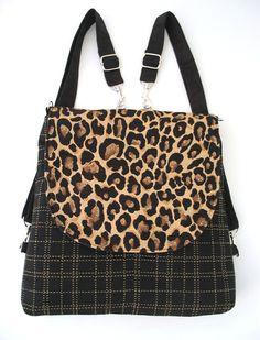 462eeb4c5 Leopard purse, black backpack, fabric messenger bag, shoulder tote bag,  crossbody bag messenger, everyday bag, fit ipad