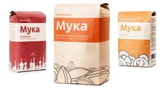 Flour Package. Like the wrap-around color bands, simple, bold, easy to read design.