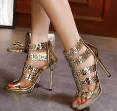 Sparkly gold hollow out high heel dress sandals women party shoes ladies prom gown dress size 35 to 40