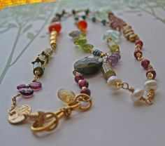 Kitchen Sink Convertible Gemstone and 14K Gold Fill Necklace