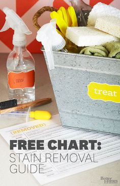 Free printable stain removal chart and guide. Great for printing out and keeping in the laundry room for quick reference. BHG @bhg