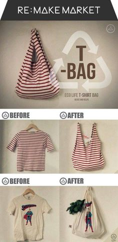 This pin doesn't link to anything (Google image search) but think the idea is just sewing up the bottom of the t-shirt, then the collar is the opening of the bag and the sleeves are the handles (cut collar and sleeves off and hem around the openings for each though a short-sleeved scoop or boat neck collar might work as is.)
