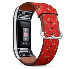 Compatible with Fitbit Charge 2 - Leather Band Bracelet Strap Wristband Replacement with Adapters - Raster Floral Pop...