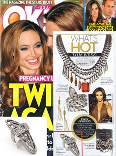 (Feb 13, 2012) OK! Magazine:  It's time to put away your mother's pearls & release your inner rock star with edgy accessories like the silver CC Skye Renaissance Ring.