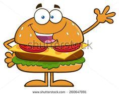 Happy Hamburger Cartoon Character Waving. Vector Illustration Isolated On White