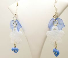Essence - artistic wire earrings, silver plated wire with acrylic beads, acrylic felt, handmade with all new materials