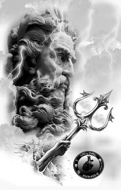 poseidon ,deuses gregos ,preto e cinza Zeus Tattoo, Poseidon Tattoo, Statue Tattoo, Best Sleeve Tattoos, Tattoo Sleeve Designs, Forearm Tattoos, Body Art Tattoos, Tatoos, Gott Tattoos