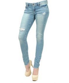 Cut my knees distressed slim skinny jeans Just USA
