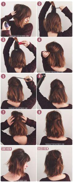 Haz un nudo a la mitad del largo de tu pelo. | 30 Asombrosos peinados con los que no necesitas usar secador