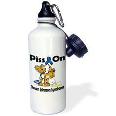 3dRose Piss On Steven Johnson Syndrome Awareness Ribbon Cause Design, Sports Water Bottle, 21oz, White