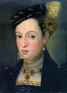 Erzherzogin Magdalena, daughter of Ferdinand I. von Habsburg Österreich by Giuseppe Arcimboldi, ca. 1563. Vienna, Kunsthistorisches Museum    Amazing zoomed in detail on original (follow the link)