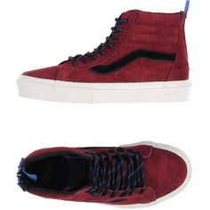 Vans High-tops & Trainers ($100) ❤ liked on Polyvore featuring shoes, sneakers, maroon, flat sneakers, hi tops, maroon high tops, vans trainers and leather shoes