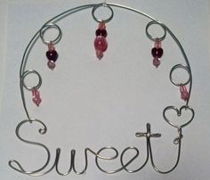Sweet - Beaded Wire Hanging Design, Pink beads, Red heart beads