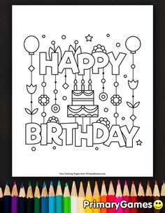 Happy birthday coloring page printable happy birthday coloring ebook - prim Happy Birthday Doodles, Happy Birthday Drawings, Happy Birthday Signs, Kids Birthday Cards, Coloring Birthday Cards, Happy Birthday Coloring Pages, Free Printable Birthday Cards, Birthday Card Template, Free Printable Coloring Pages