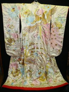 1940s wedding kimono with embroidered phoenix and flower design
