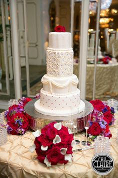 Classic Pink Purple Silver White Flowers Fondant Multi-shape Wedding Cake Wedding Cakes Photos & Pictures - WeddingWire.com