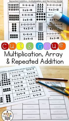 This set will allow you to enrich, reteach, and solidify math skills with all of your students. Students will match an array with the corresponding repeated addition and multiplication fact. Students will cut, sort, match and glue to show their understanding. This is a great way to make small group math time or center time more meaningful for students. Repeated Addition Multiplication, Multiplication Facts, Curriculum, Homeschool, Math Skills, Fourth Grade, Math Centers, Small Groups, Student