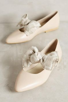 Anthropologie KMB Frayed Bow Flats
