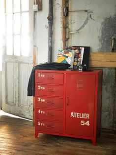 great little rustic red locker-style chest of drawers